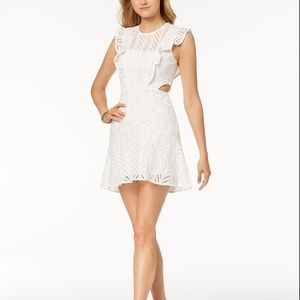 Bardot Kira Cutout Ruffled Fit & Flare Dress Ivory